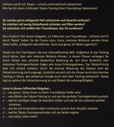 """In 4 Minuten zum Traumkörper - Schlank und Fit durch Tabata"""" von Sonja Jäger Inhalt"""